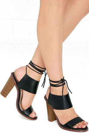 Moon Hop Black Lace-Up Heels