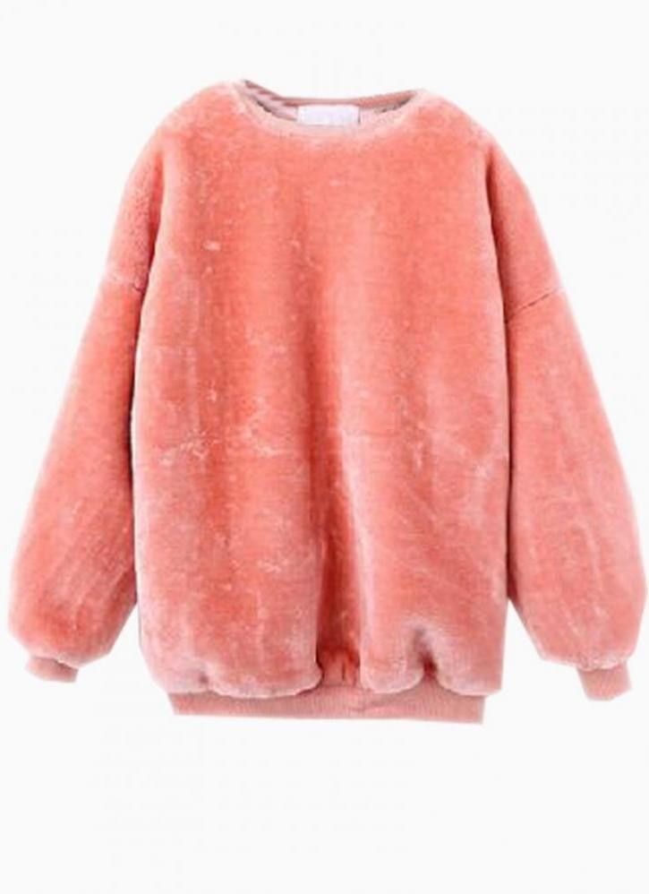 Item# : CRZY2720   COLOR: Pink NECKLINE: Round neck PATTERN TYPE: Plain SILHOUETTE: Sweatshirt  One size Bust:122cm Length:68cm  For this product, to guarantee faster delivery, please choose express shipping.