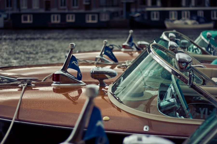 wooden Riva's in a row