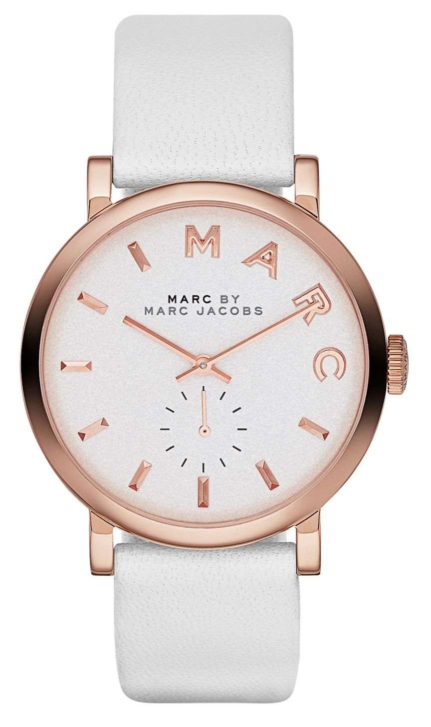 Finishing off the arm candy with this polished white and rose gold Marc Jacobs watch.