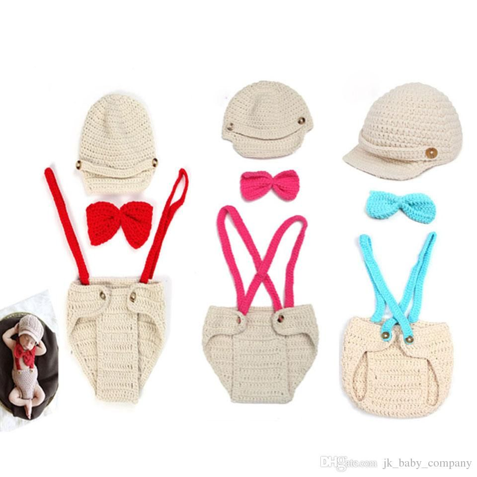 1a9ed3da9 Crochet Baby Boys Gentleman Costume Knitted Baby Hat Suspender And Bow Tie Set  Clothing Set for Newborn Babies Photo Props BP016 Boys Costume Baby Hat  Photo ...