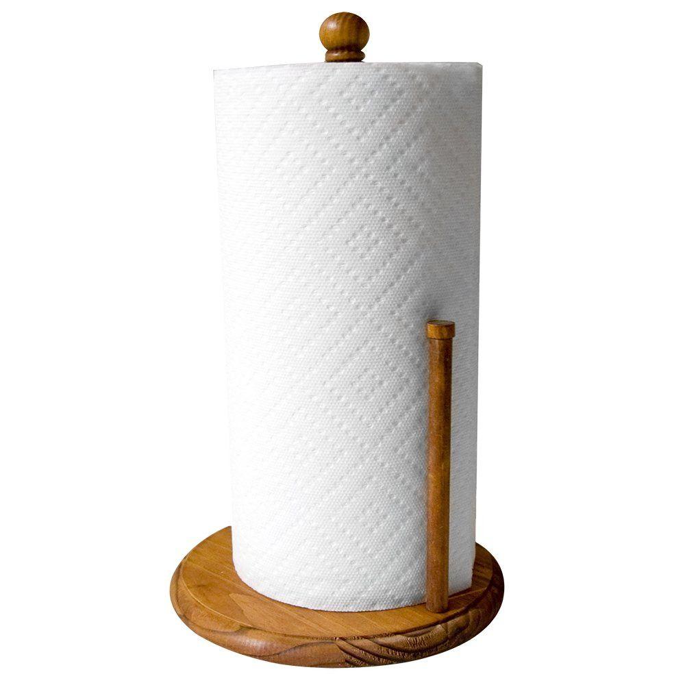 Pine Paper Towel Holder Rustic Sturdy Kitchen Countertop 13 Inch X 8 Inch Brown Homebasics Organization Paper Towel Holder Towel Holder Bathroom Countertop Storage