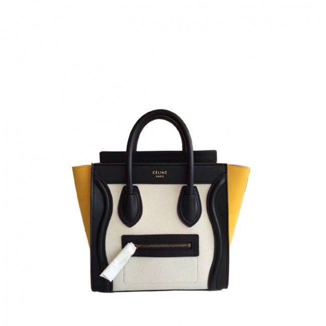 d478e628e7 Original quality Celine nano luggage handbag in porcelain multicolour baby  grained calfskin