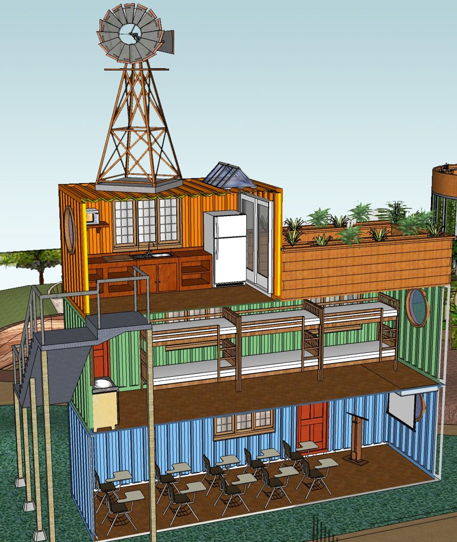 Stacked Container Classroom And Dorm