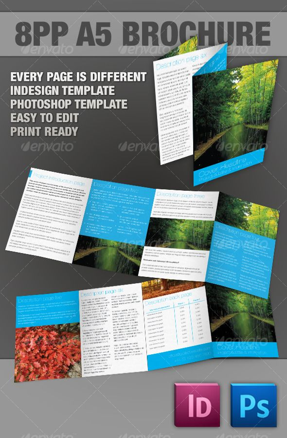 8pp A5 Brochure InDesign Photoshop Templates Pinterest