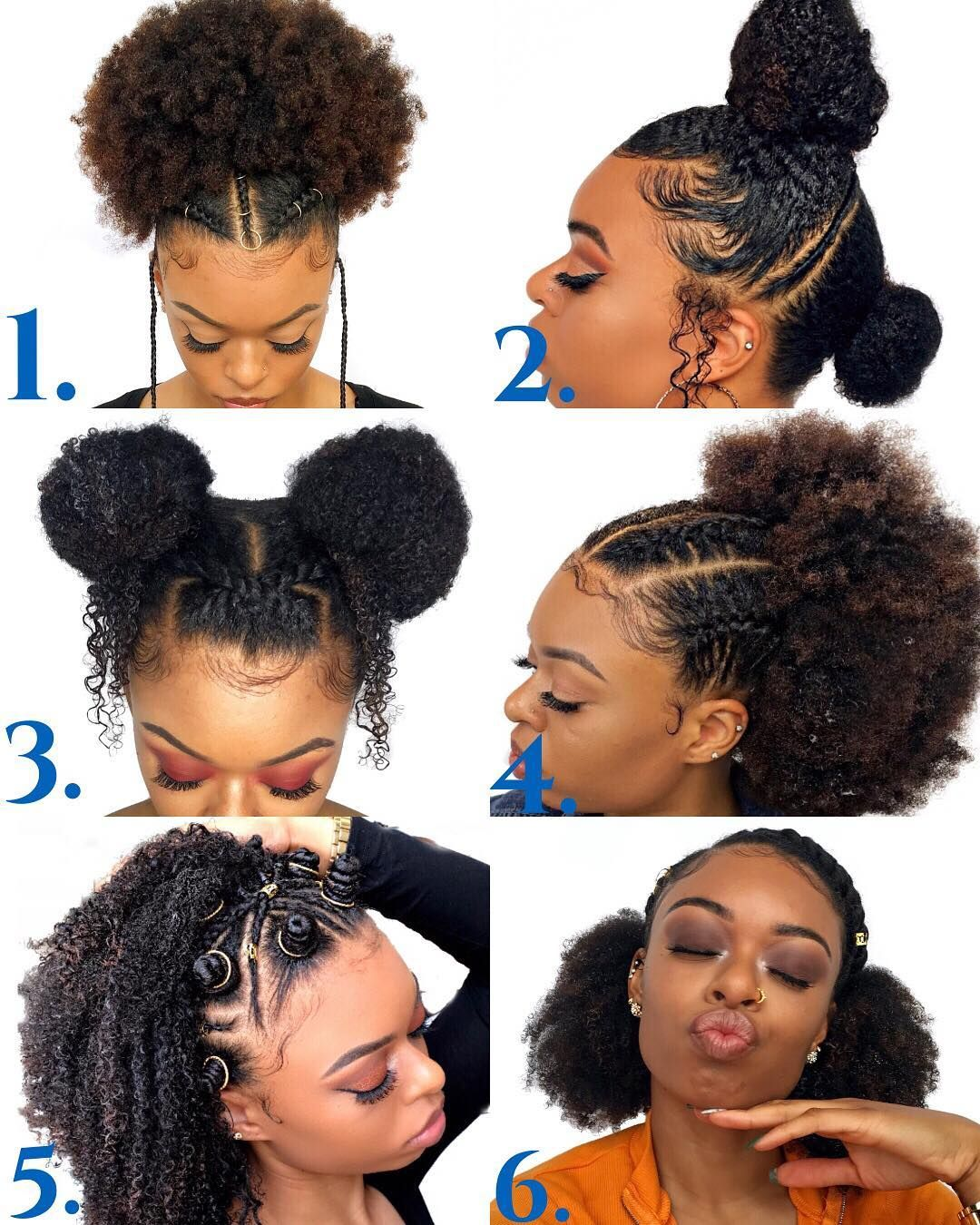 Which Hairstyle Is Your Favorite Swipe Left To See The Full Lengths Of Each Picture Natural Hair Styles Easy Hair Puff Natural Hair Styles
