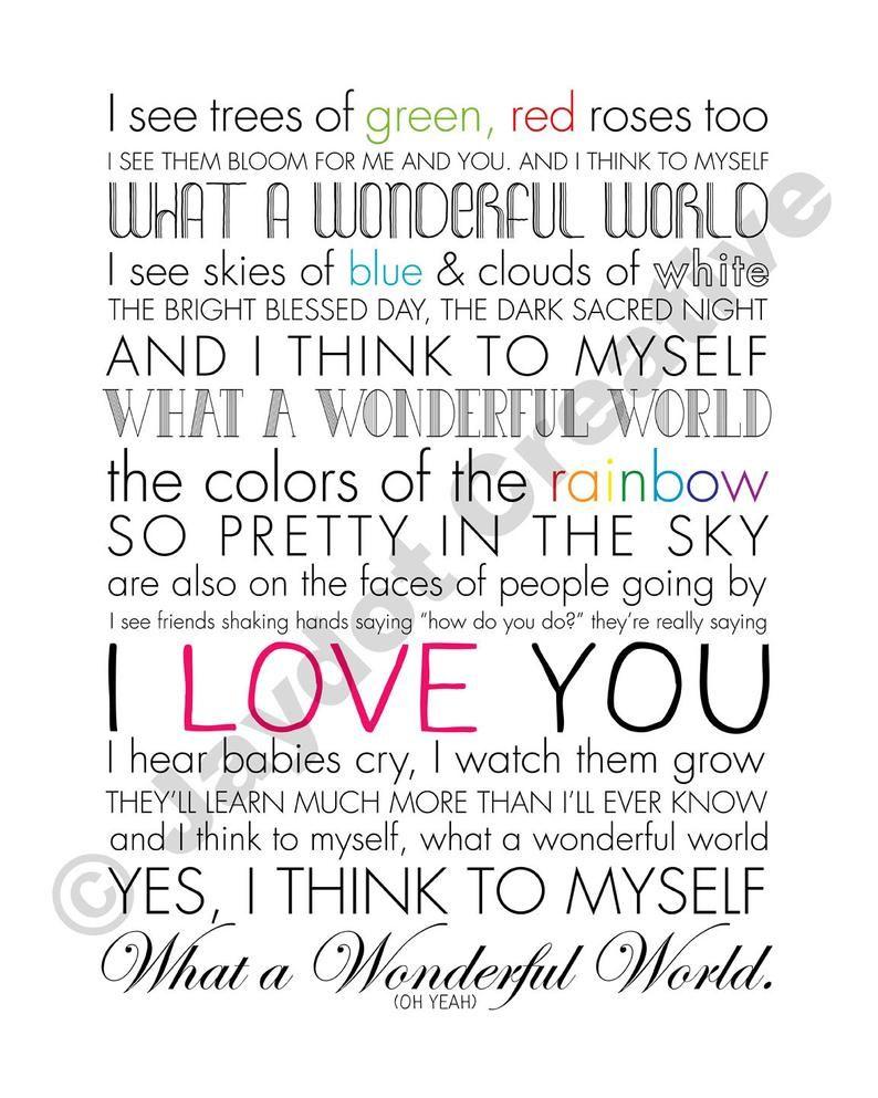 I Hear Babies Cry And I Watch Them Grow Lyrics : babies, watch, lyrics, LOUIS, ARMSTRONG, Wonderful, World, PRINTABLE, Quotes,, World,, Louis, Armstrong, Songs