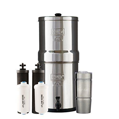 Alexapure Pro Stainless Steel Water Filtration System 5 000 Gallon Throughput Capacity Berkey Water Filter Berkey Water Tumbler Cups