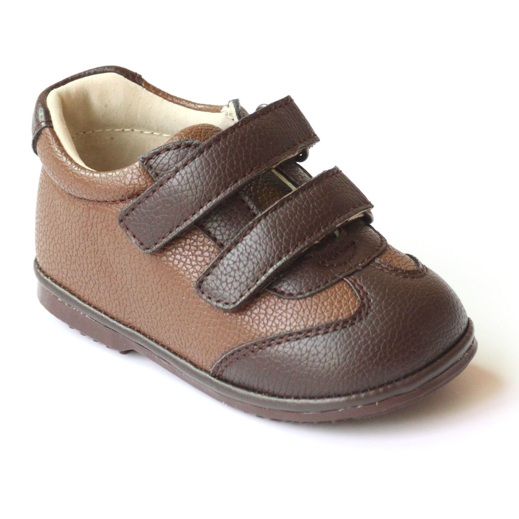 Angel Baby Boys Leather Double Strap Sneakers
