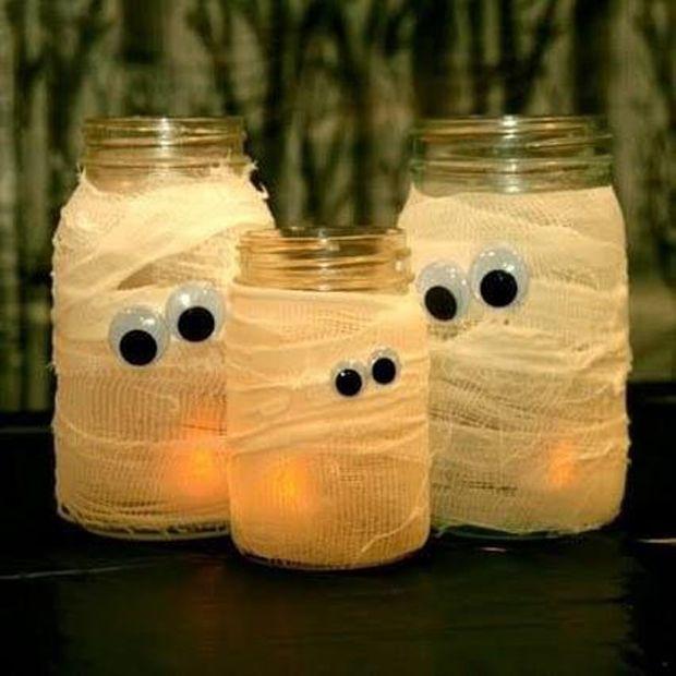 Geisterlichter (Halloween Basteln Spinnen) Halloween Basteln - decorations to make for halloween