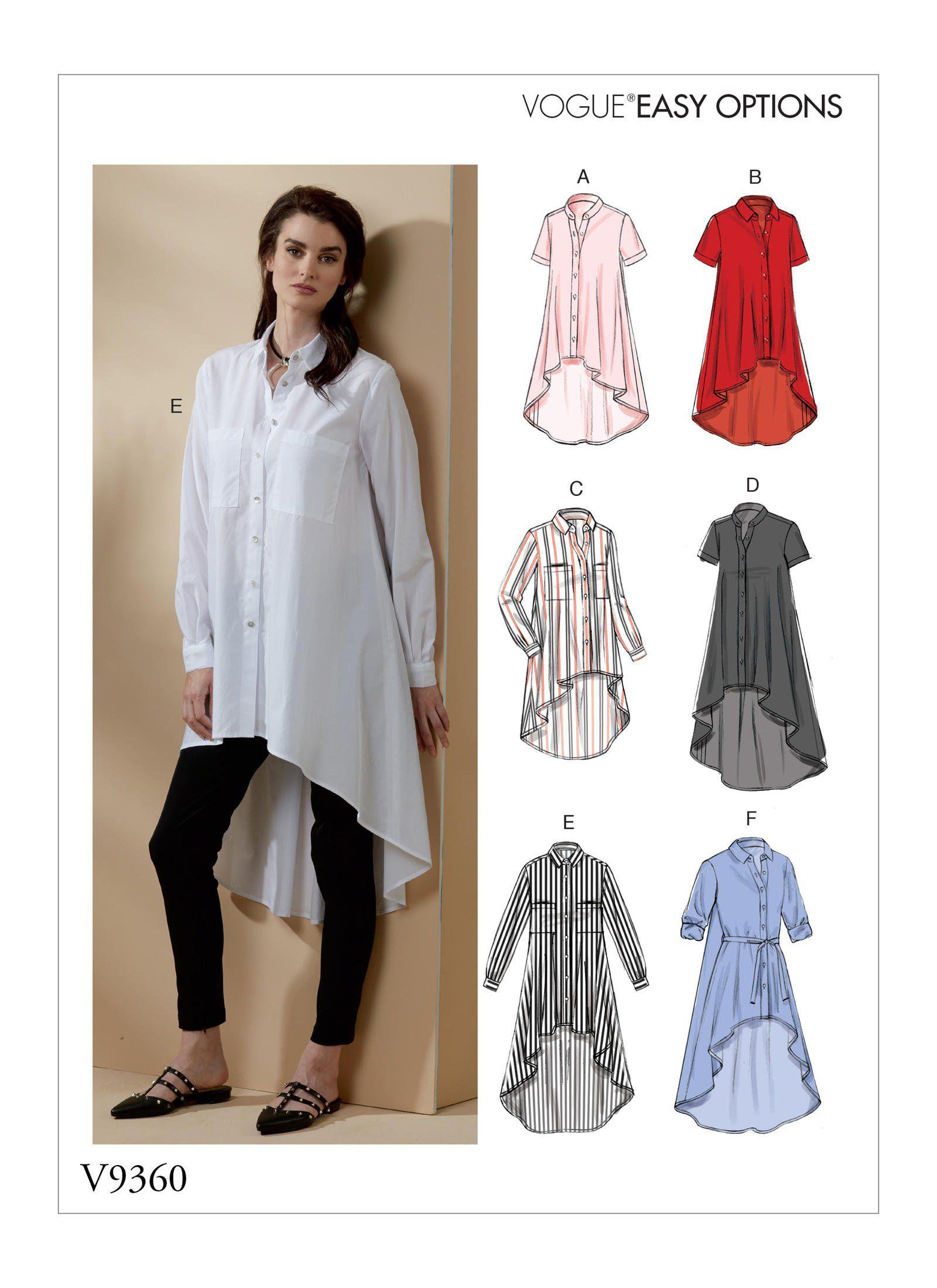 Vogue Patterns 9360 Misses Shirt And Belt Women Top Sewing