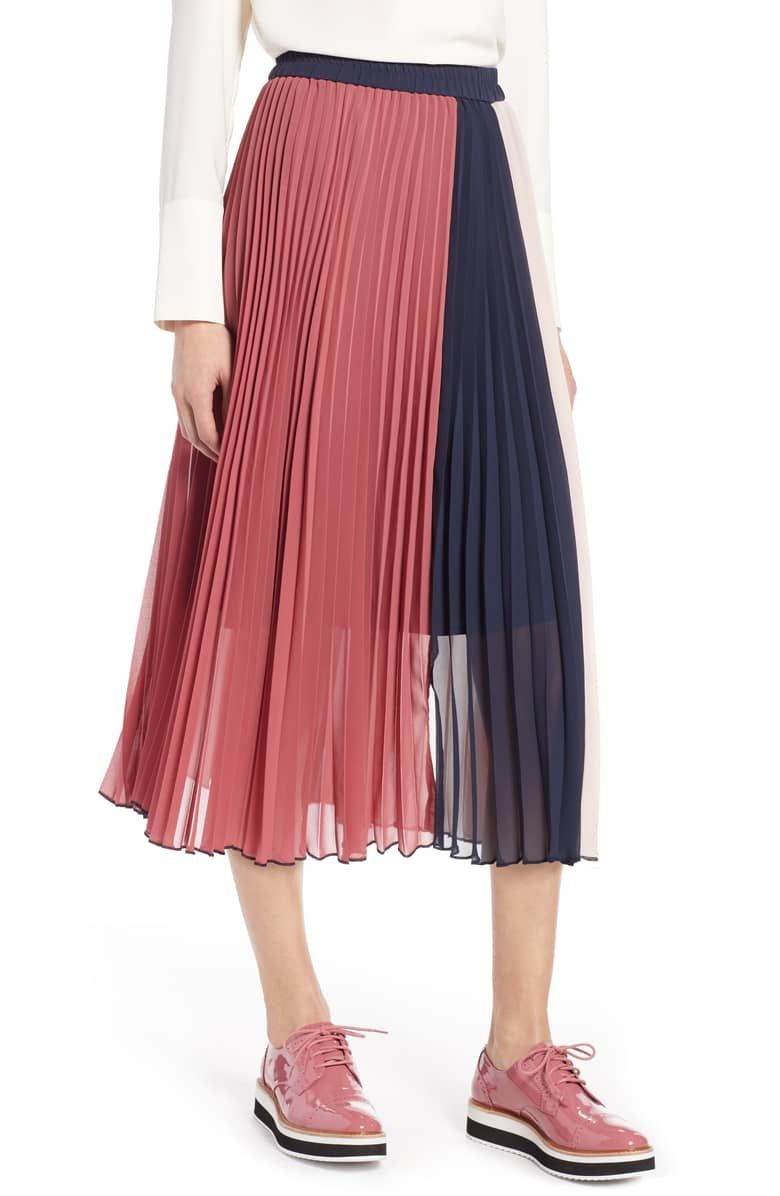 36d5a8239a x Atlantic-Pacific Colorblock Pleated Midi Skirt, Main, color, PINK- NAVY  COLORBLOCK