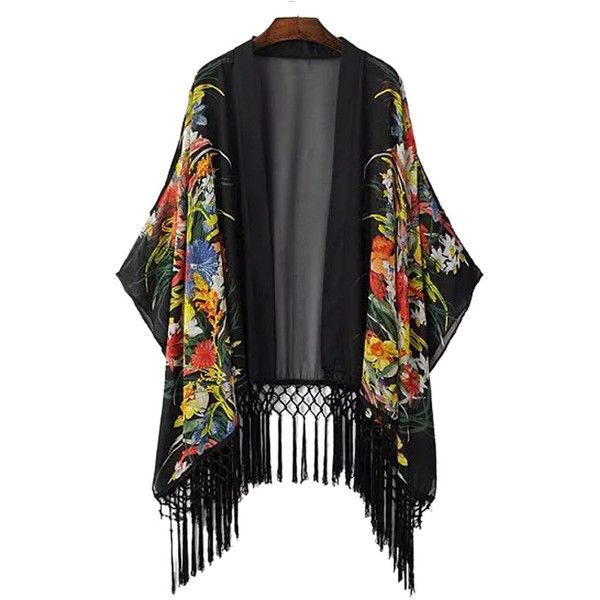 Black Floral Tassel Hem Loose Kimono (145 BRL) ❤ liked on Polyvore featuring intimates, robes, long kimono, tassel kimono, floral print kimono, floral kimono and long robe