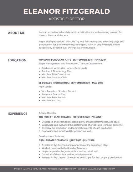 Header For Resume Brown White Header Theatre Resume  Work  Pinterest  Simple Resume .