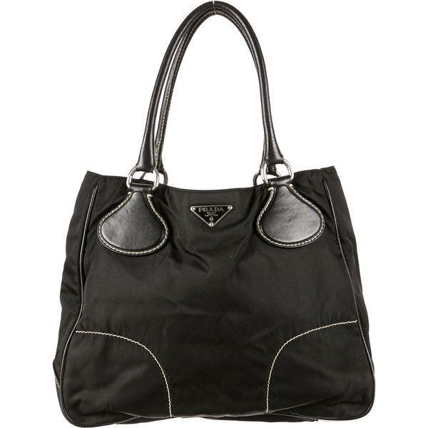 Pre-owned Prada Tessuto Shoulder Bag ($225) ❤ liked on Polyvore featuring bags, handbags, shoulder bags, black, pre owned purses, prada, black woven handbag, woven handbag and black purse