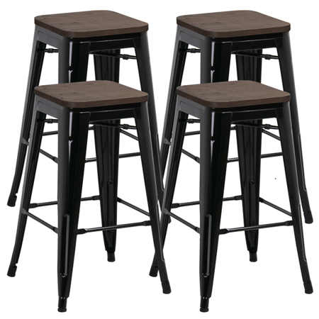 Topeakmart Set of 4 Gunmetal Wooden Seat 24 Inch Counter Height Metal Bar Stools Kitchen Chairs with High Back Indoor//Outdoor
