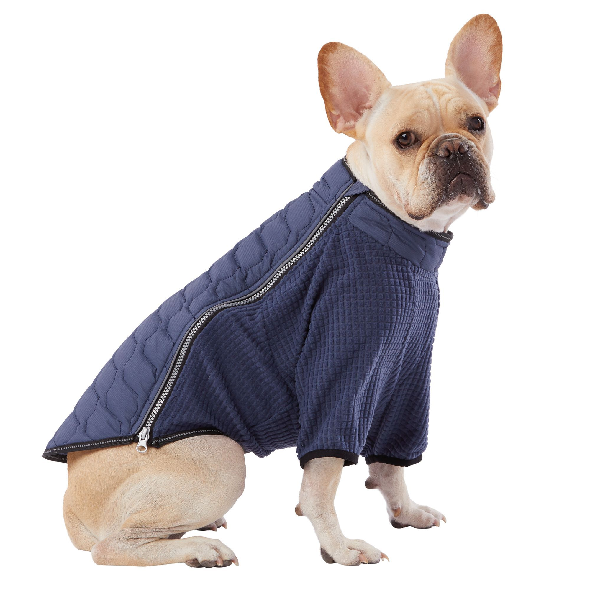 Top Paw Packable Pet Coat size 2X Small, black/blue/grey