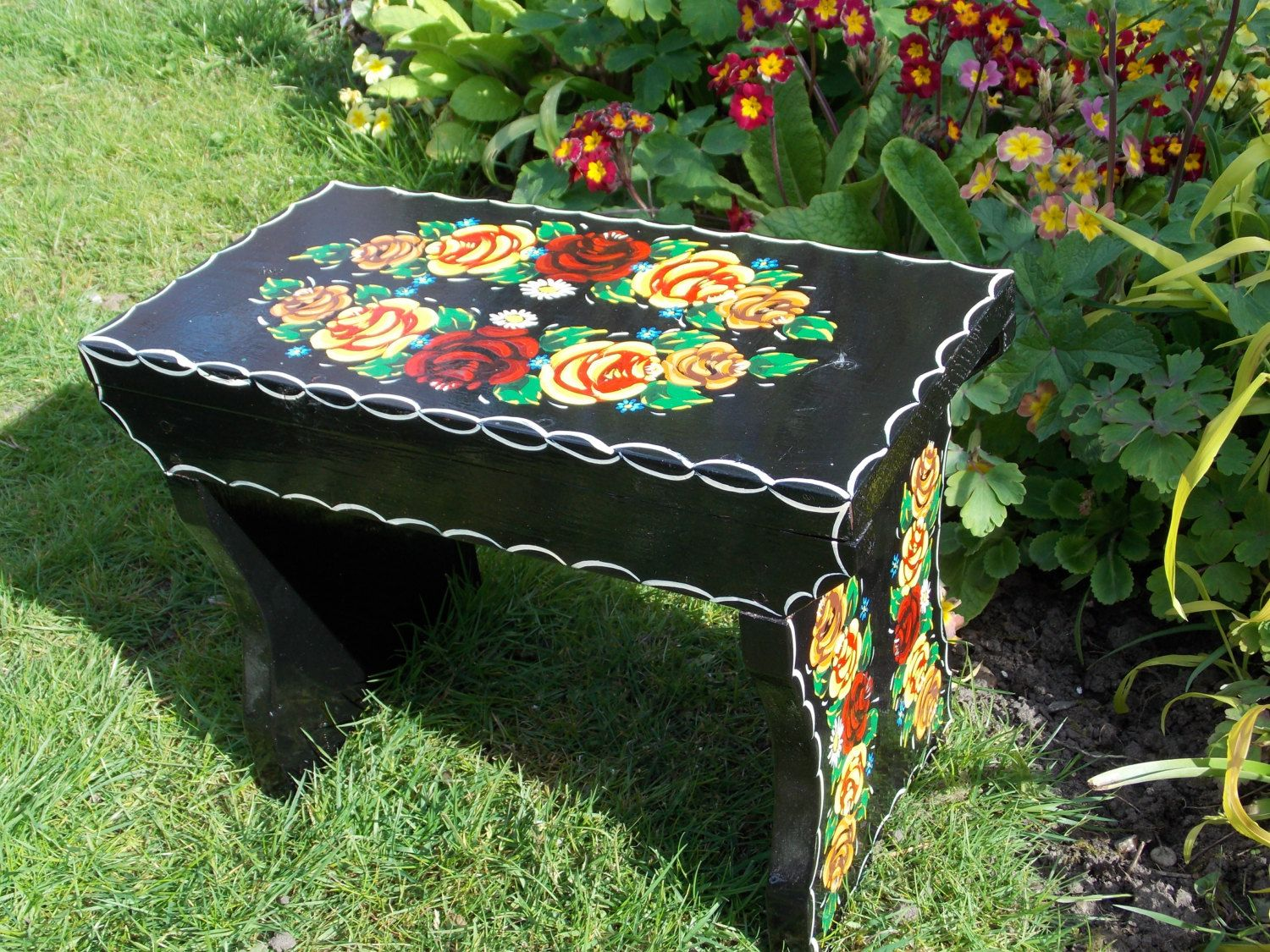 Black Wooden Step Stool.Traditional Canal Ware Narrowboat. Unique Design.100% & Black Wooden Step Stool.Traditional Canal Ware Narrowboat. Unique ... islam-shia.org