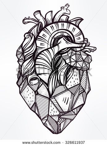 Heart Of Stone Highly Detailed Vintage Style Hand Drawn Line Art