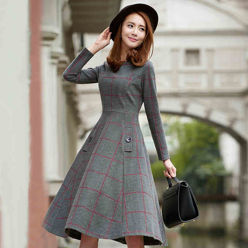 2016 Korean Women Latest Fashion Winter Dress Thick Woolen Plaid Long-sleeved  Dress Super Quality