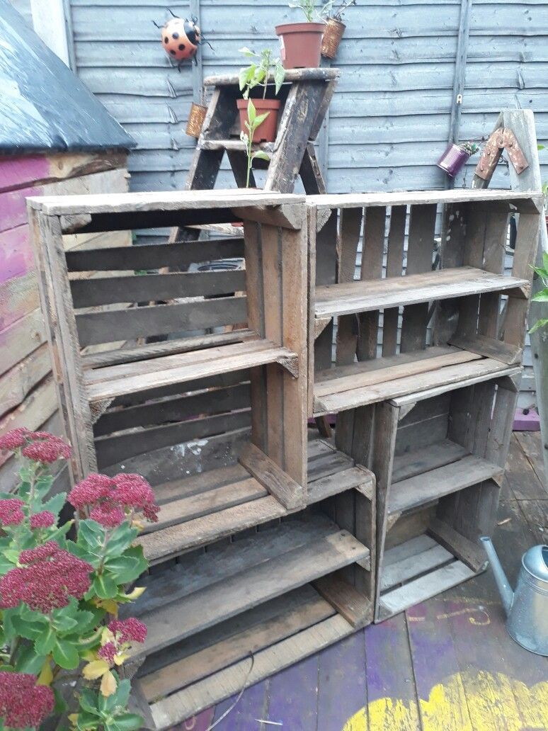 Crates with shelves pallet creations uk pinterest creation uk