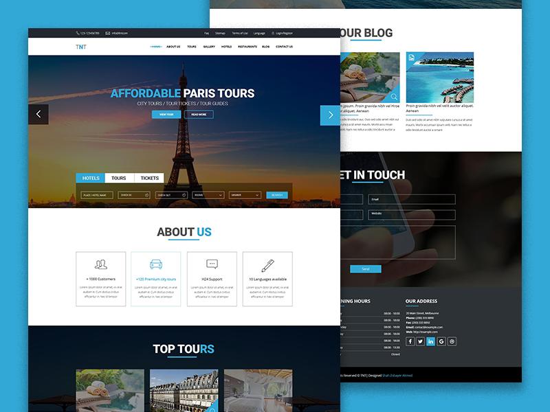 Tnt Tour And Travel Template Psd Freebie Real Estate Web Design Web Design Tours