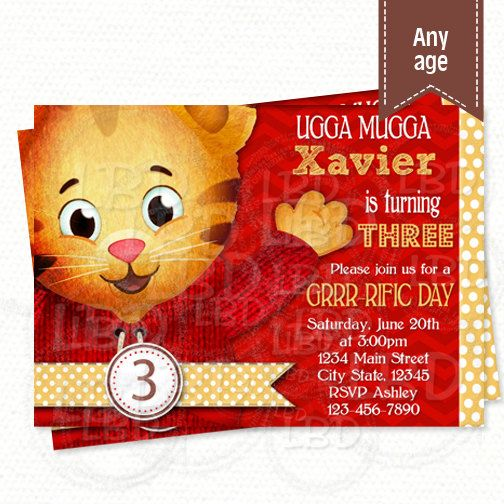 Daniel Tiger Invitation, Daniel Tiger Birthday Invitations, Daniel Party Invite…