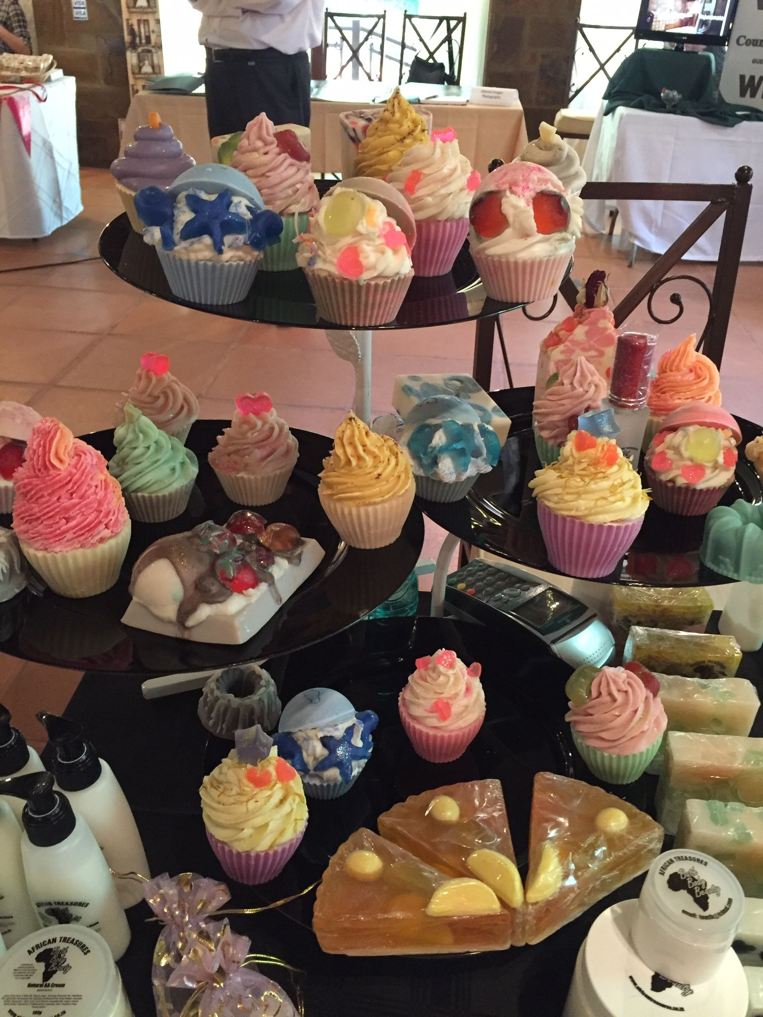 Cupcake soap display at the wedding festival