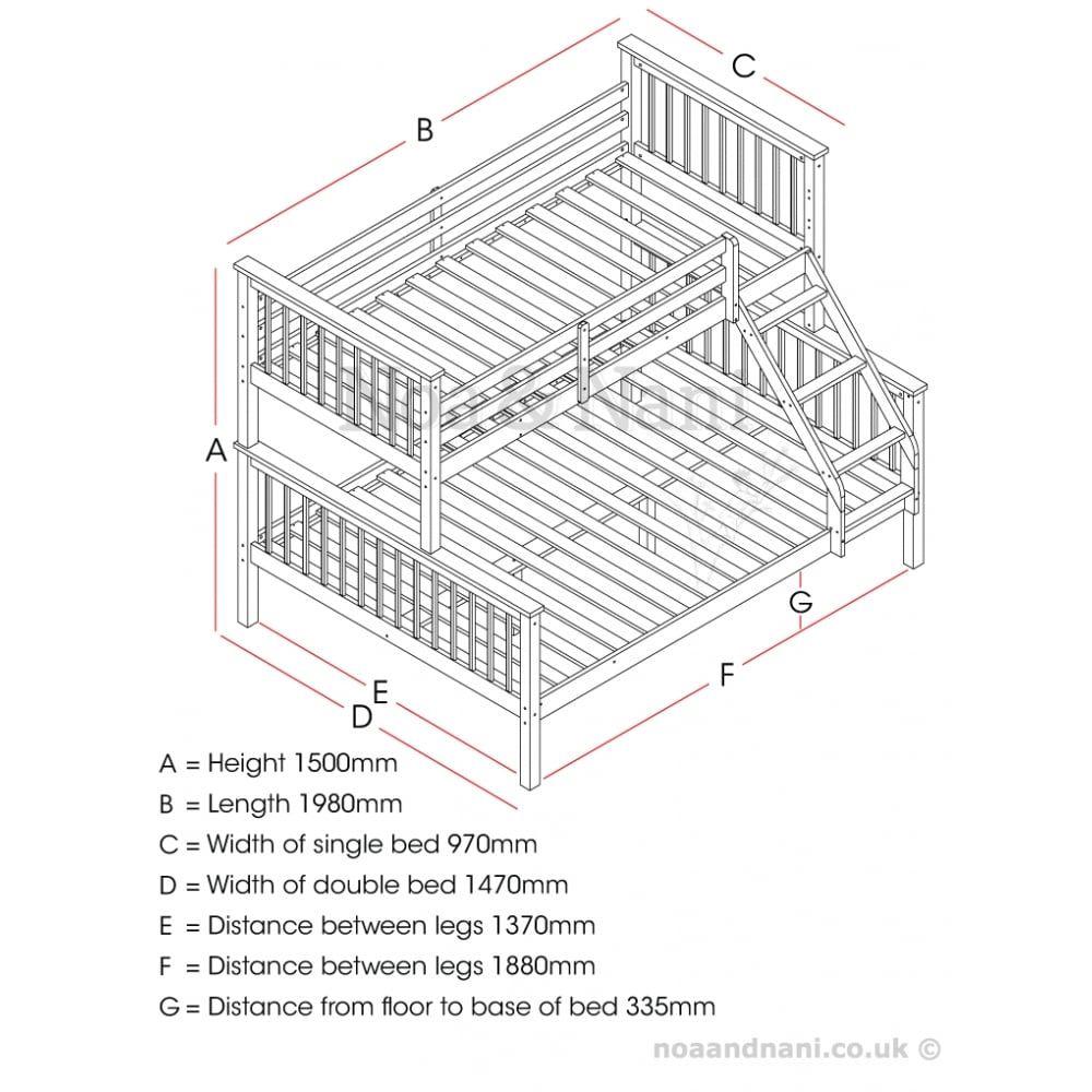 Hanna Triple Bed Bunk Bed in Natural (с изображениями)