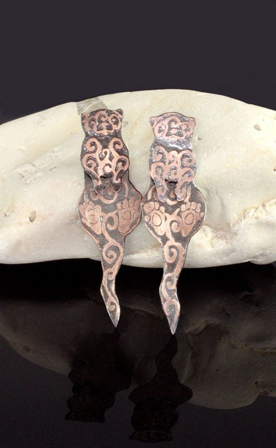 Etched Copper River Otter Stud Earrings, otterly unique earrings, for otterly unique people ;)