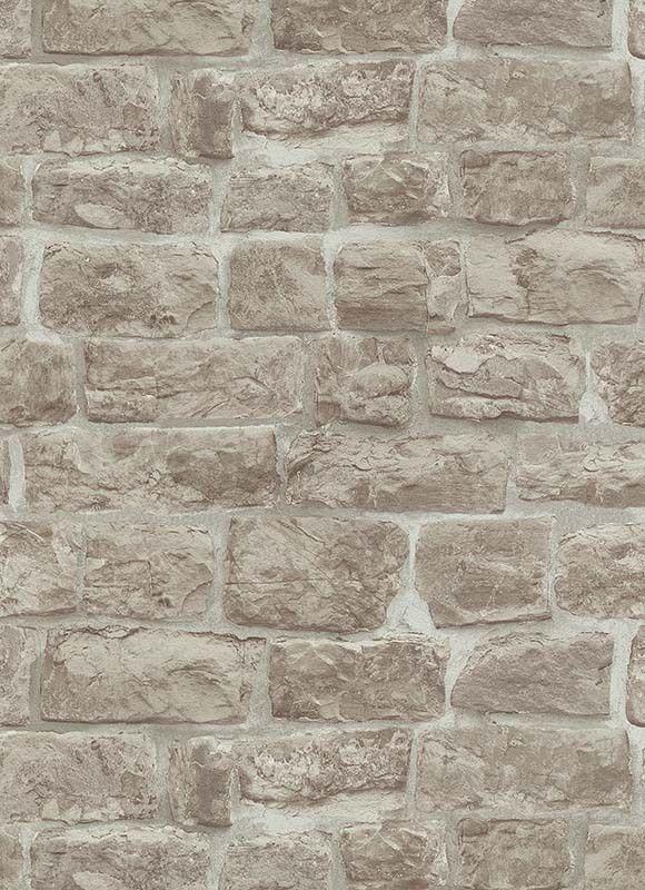 Erismann Rustic Brick Stone Effect Wallpaper Beige Vinyl