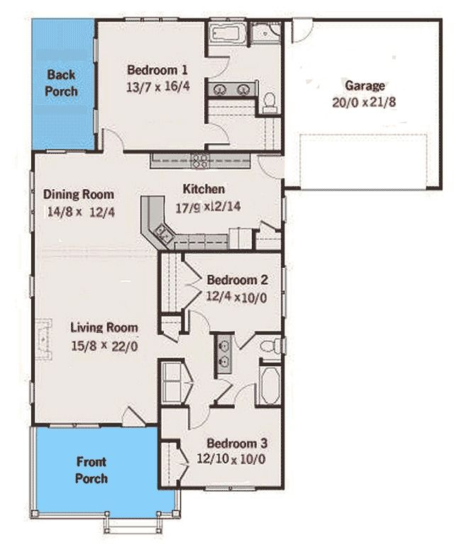 Plan 50132ph Cozy Bungalow With Attached Garage Single Story