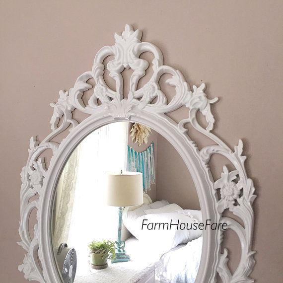 Ornate Mirrors, White Nursery Mirror, Large Wall Hanging Mirror, Shabby  Chic Oval Mirror