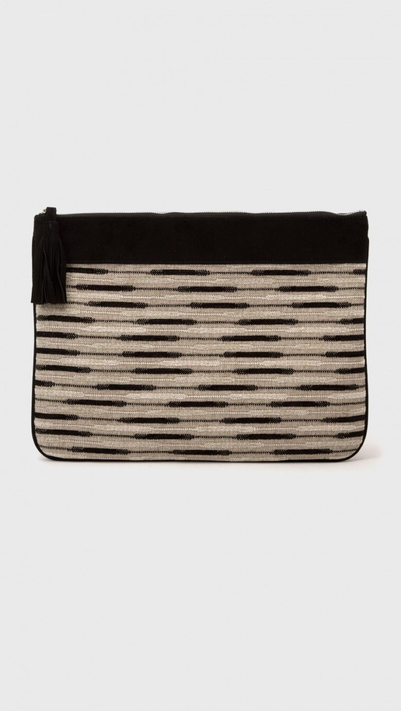 NewbarK Large Pouch with Tassel in Natural Woven and Black Suede | The Dreslyn