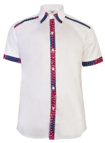 Asante short sleeve African print shirt-White Nsubra £80