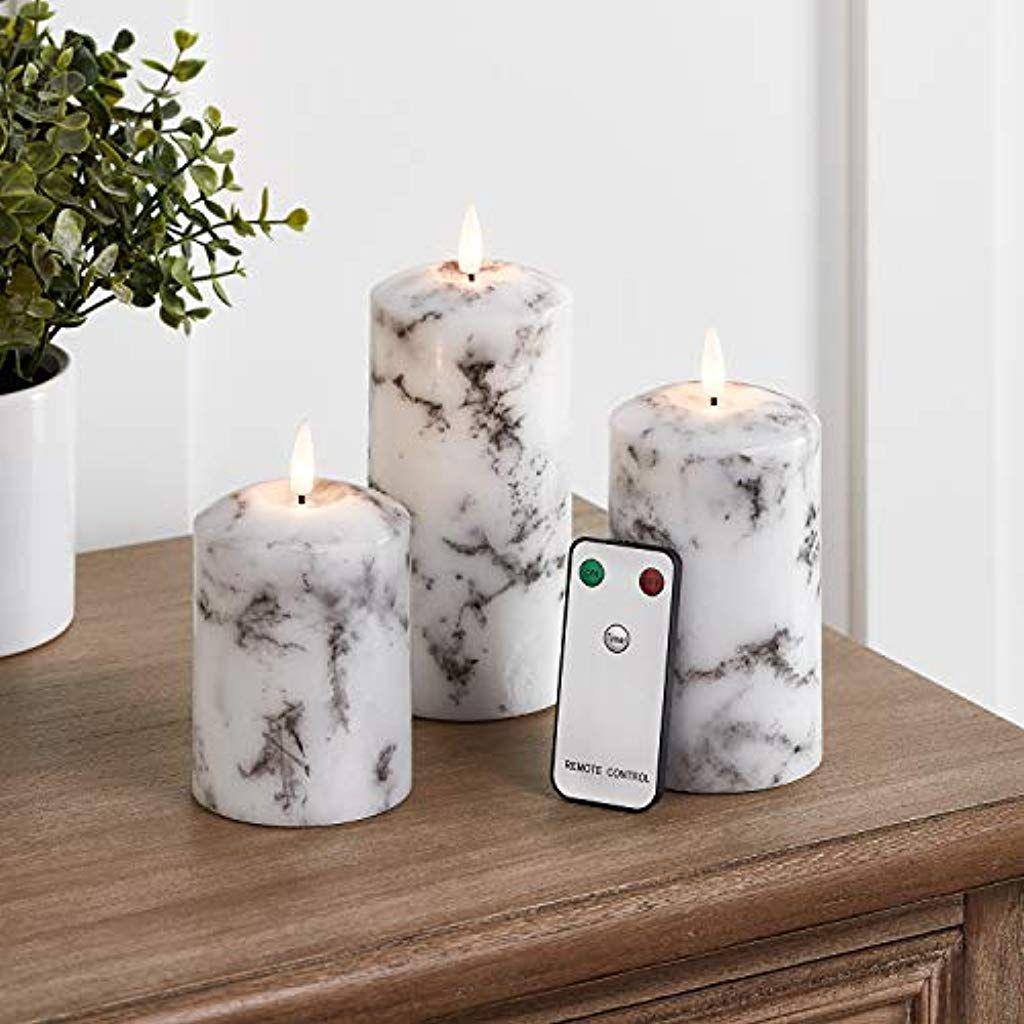 Lights4fun 3er Set Truglow Led Marmor Kerzen Mit Fernbedienung Und