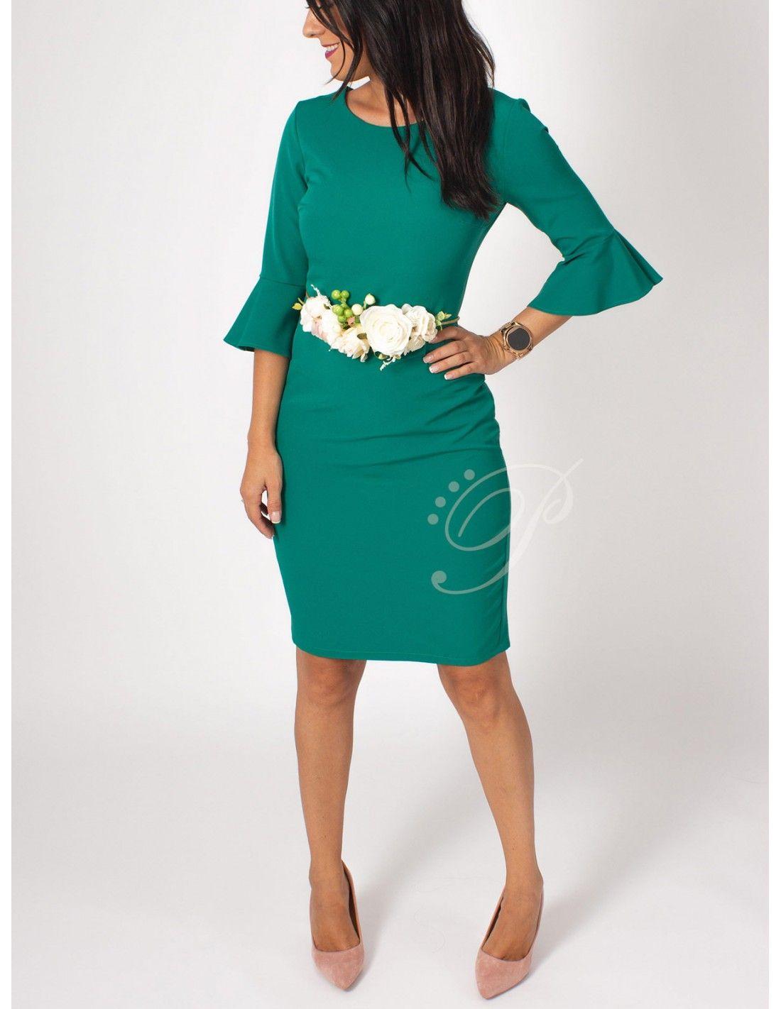 ef24b0631 Vestido Felicia - Vestido de corte midi en color verde. Manga al codo con  terminación