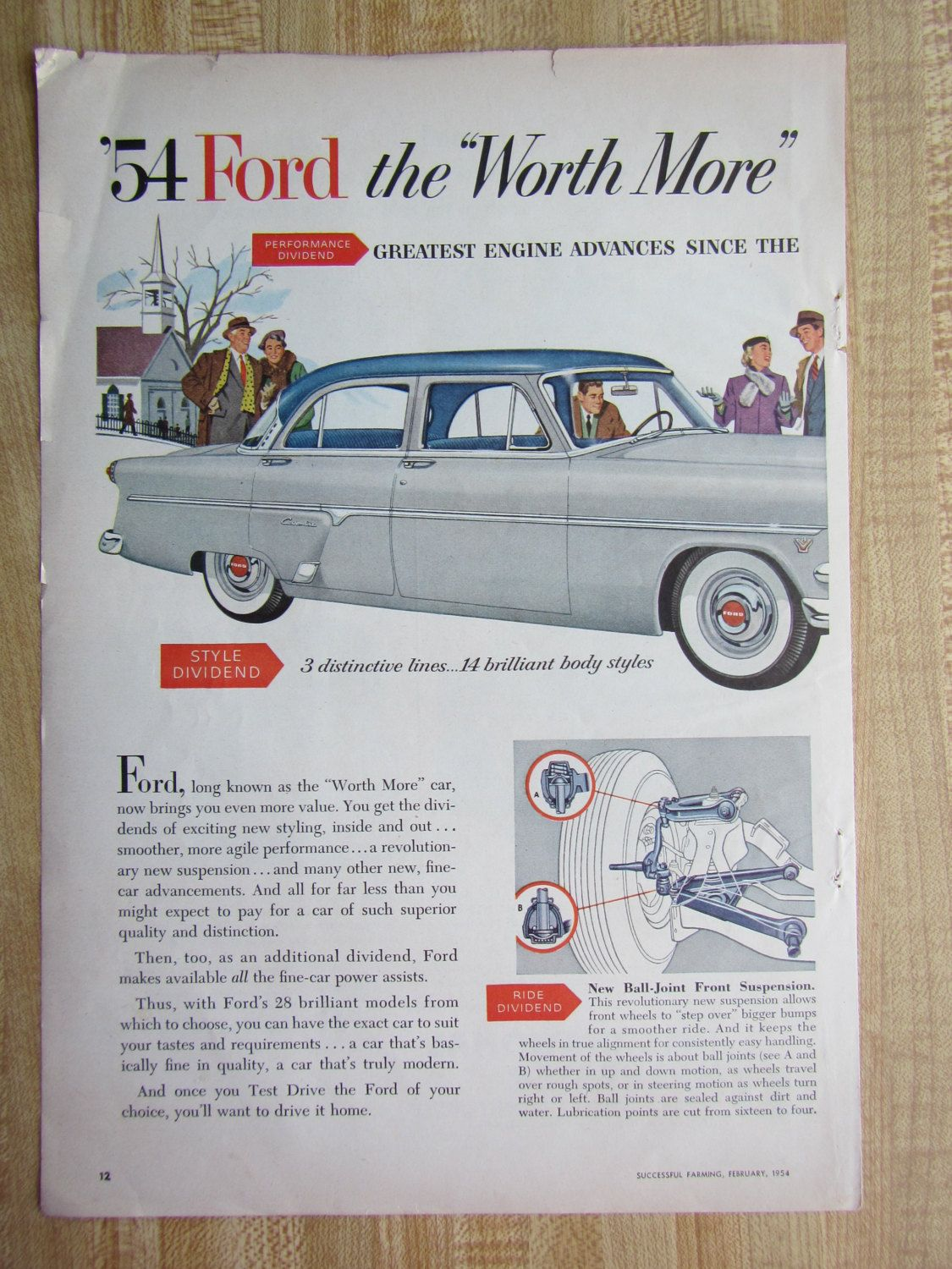 1954 Ford Customline Magazine Ad With International Harvester