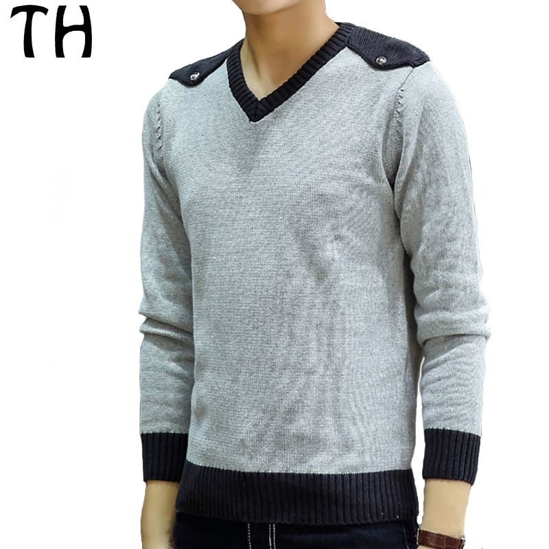 Spring Winter Patchwork Casual Tops Long Sleeve V-neck Fashion Slim Fit Pullover Men Sweater Knitwear Pull Homme #161730
