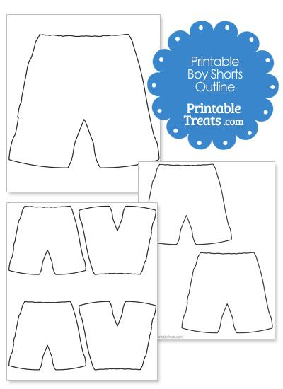 Printable Boy Shorts Shape Template | Paper doll template ...