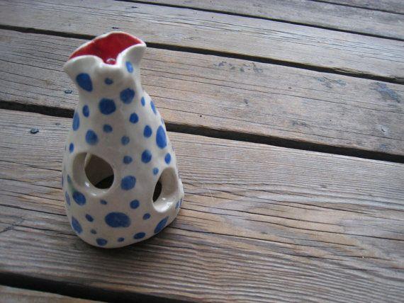 Betta Fish Cave  Blue Polka Dots  Ceramic Decor  by WhiteCitrus