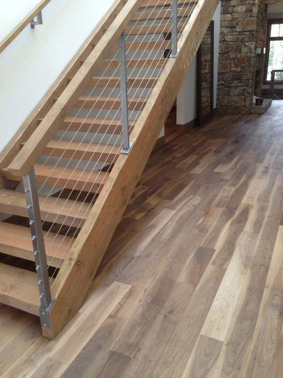 Best Warmcolored Wood Staircase And Wood And Cable Railing To 640 x 480