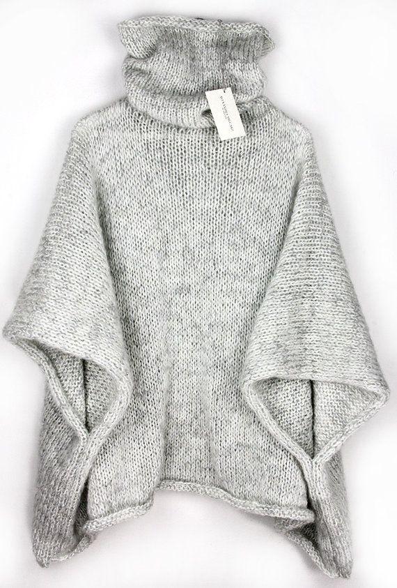 Cozy Sweater Poncho, Knit Poncho, Oversized Sweater, Big Sweater ...