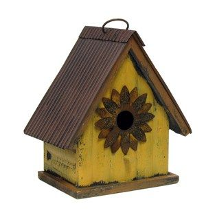 Wood Metal Birdhouse With Sunflower