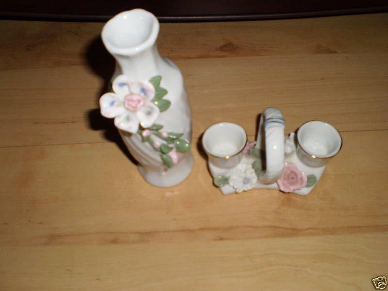 1960s Retro Ceramic Pottery Ornaments Set  BUD VASE & CANDLE STICK HOLDER