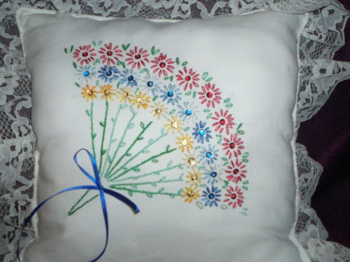 Ribbon work bed sheets designs - Hand Embroidery Designs For Bed Sheets Google Search