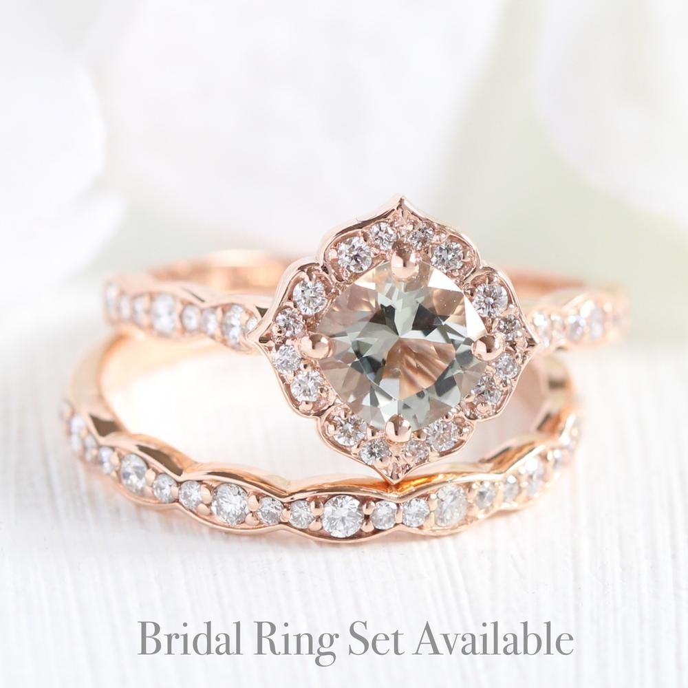 c78775b70c7 Mini Vintage Floral Ring in Scalloped Band w/ Green Amethyst and ...