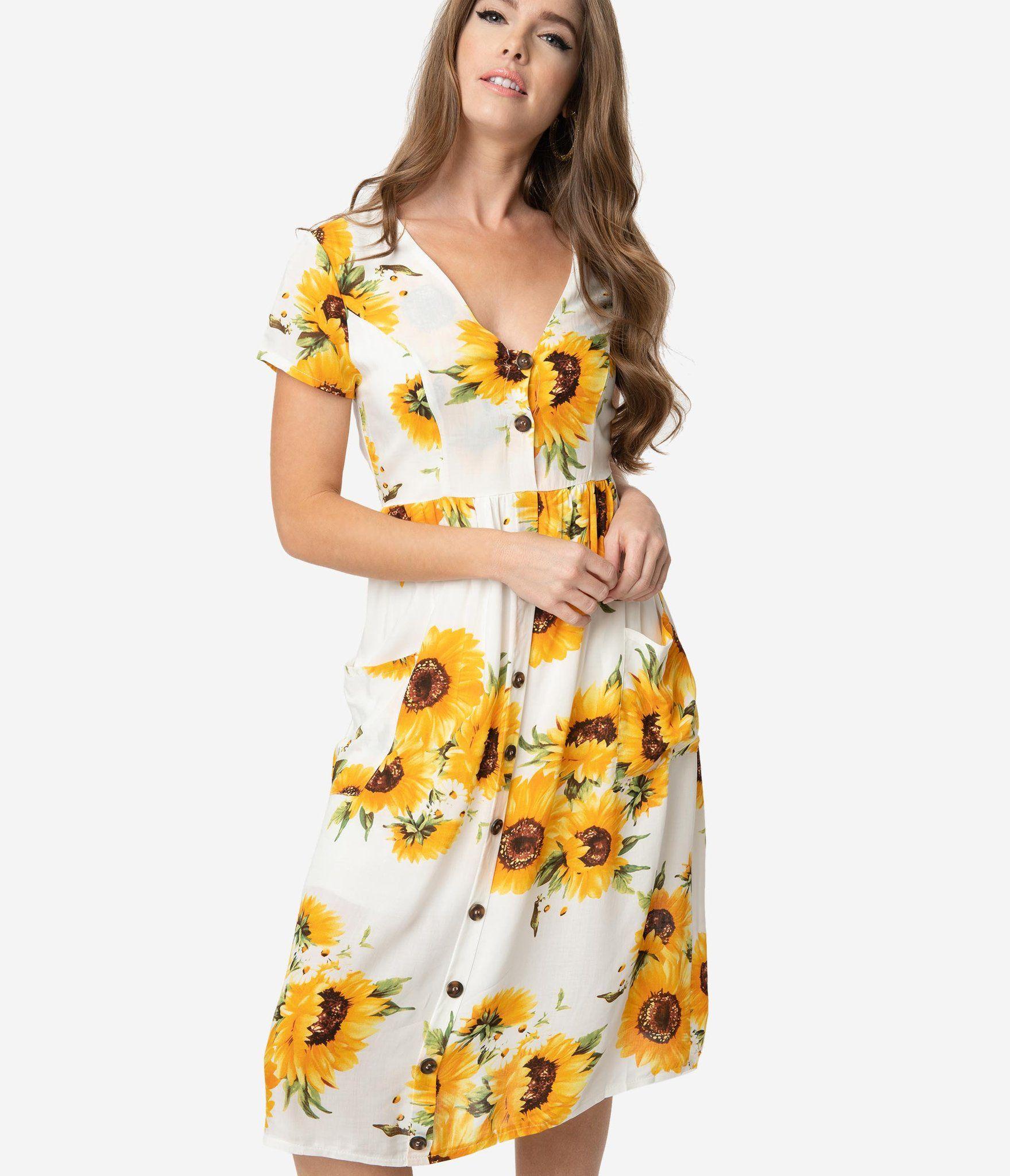 1950s Style White Yellow Sunflower Print Button Midi Dress Unique Vintage 1950s Fashion Unique Dresses Dresses [ 2048 x 1759 Pixel ]