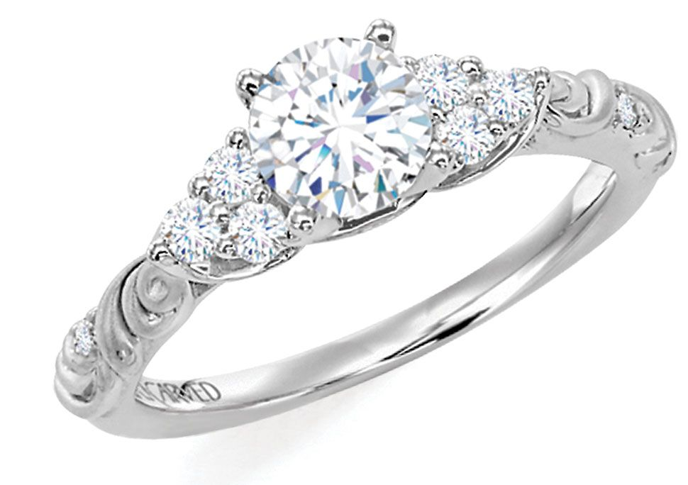 Artcarved gossimer diamond engagement ring with round