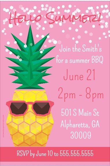 Pineapple With Sunglasses Summer Theme Party Invitation Click To